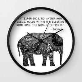 Buddha Quote with Henna Elephant Wall Clock
