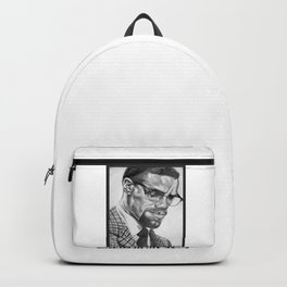 Print of free hand graphite pencil drawing of Malcolm X Backpack