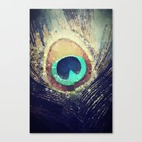 peacock feather Canvas Prints featuring Peacock Feather  by Love2Snap