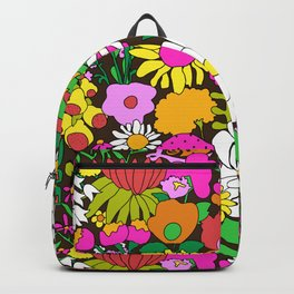 60's Groovy Garden in Chocolate Brown Backpack