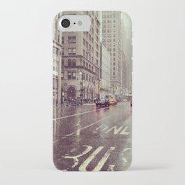 nyc street rain iPhone Case