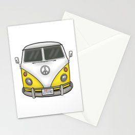 Yellow Camper Van - Hippie Bus Stationery Cards
