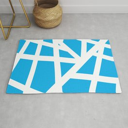 Abstract Interstate  Roadways White & Aqua Blue Color Rug