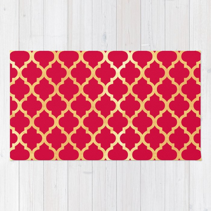 Moroccan Gold & Red Rug
