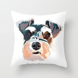 Schnauzer Colorful Dog Illustration Throw Pillow