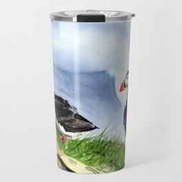 """What is going on over there?"" Atlantic Puffins Watercolor Painting Travel Mug"