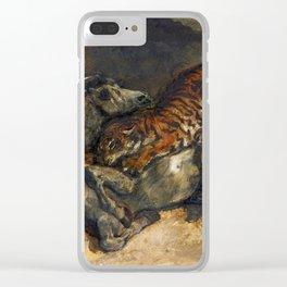 """Eugène Delacroix """"Tigre attaquant un cheval"""" Clear iPhone Case"""