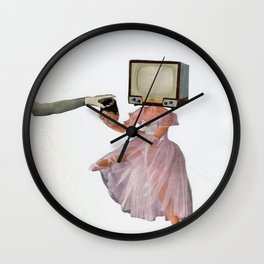 woman exchanging her head with a TV Wall Clock