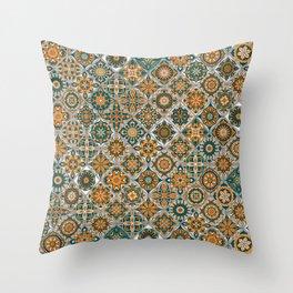 Vintage Mosaic Mandala Pattern Throw Pillow