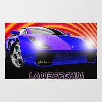 lamborghini Area & Throw Rugs featuring Lamborghini Gallardo (2) by JT Digital Art