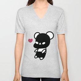 Black Kawaii Panda Bear Unisex V-Neck