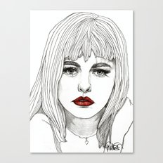 Patsy with Red Lips Canvas Print