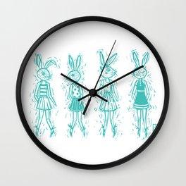 Bunny Girls - cute bunnies woodcut style texture clean creme natural rabbit ears hare cute  Wall Clock