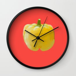 Yellow bell pepper Wall Clock
