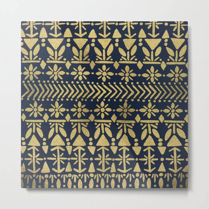 Norwegian Pattern – Gold on Navy Metal Print