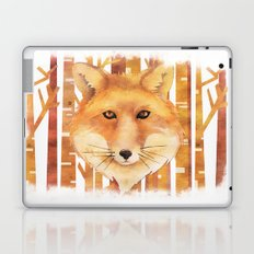 Fox in the forest- Animal abstract watercolor illustration Laptop & iPad Skin