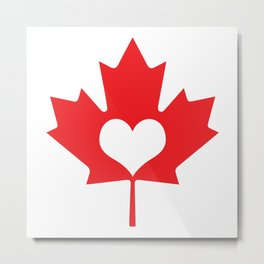 Canada Day Maple and Heart Metal Print
