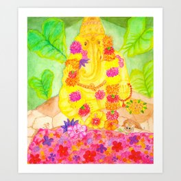 Ganesha Offering  to Overcome Obstacles Art Print