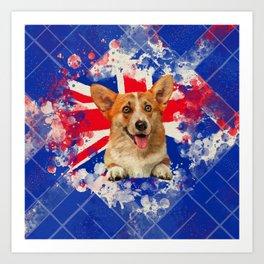 Corgi Portrait with Britain Flag Art Print