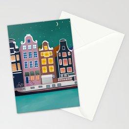 Amsterdam city night Stationery Cards