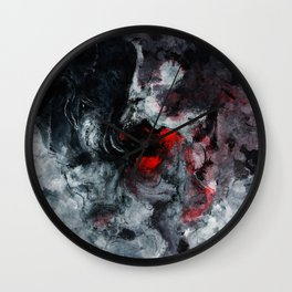 Red and Black Minimalist Abstract Painting Wall Clock
