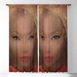 African Beauty With Gold Headscarf Blackout Curtain