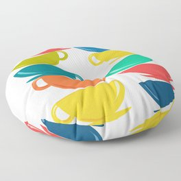 A Teetering Tower Of Colorful Tea Cups Floor Pillow