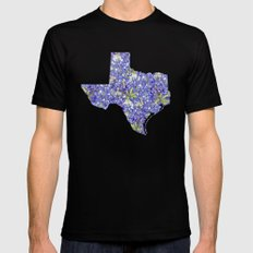 Texas in Flowers Mens Fitted Tee Black SMALL