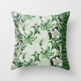 Ruby Throated Hummingbird in Flight Throw Pillow