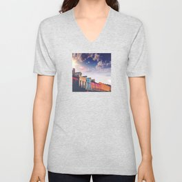 Sunny Cloudy Skies Iconic Colorful Rainbow New Orleans French Quarter Nola Architecture Cityscape Unisex V-Neck