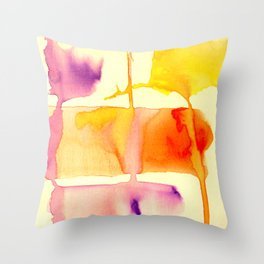 Outer Banks 5 | Horizon Orange and Purple Watercolor Abstract Organic Painting Throw Pillow