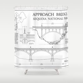 Approach Bridges - Generals Highway, Three Rivers, Tulare County, CA Shower Curtain