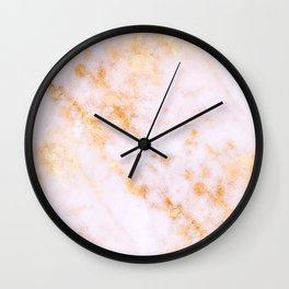 Gold Marble - Shimmery Glittery Pink Gold Marble Metallic Wall Clock