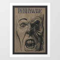 pennywise Art Prints featuring Pennywise / IT (DRAWLLOWEEN 25/31) by pakowacz