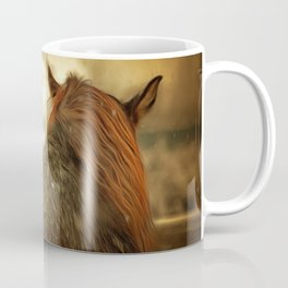 Horse View from Back in Snow in Winter. Golden Age Painting Style. Coffee Mug