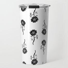 Linocut floral Rose pattern flowers carving printmaking Travel Mug