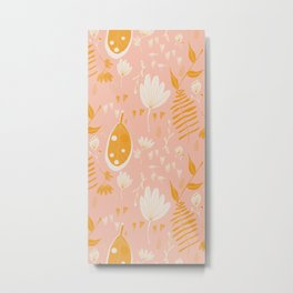 Mod Floral Pink Yellow  Metal Print