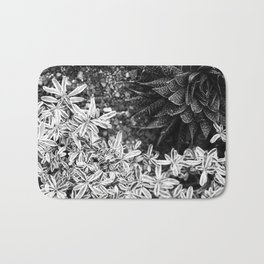 Succulents in Black & White Bath Mat