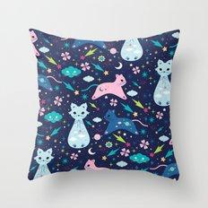 Cloud Kittens Throw Pillow