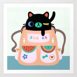 Cat Snack Backpack Art Print