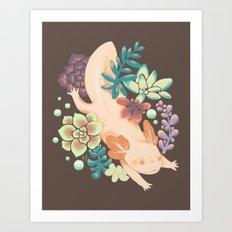 Axolotl & Succulents Art Print