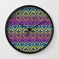 fleur de lis Wall Clocks featuring Fleur De lis & Hearts by Arcturus