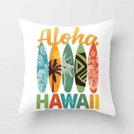 Retro Hawaiian Surfboard Aloha Hawaii Throw Pillow