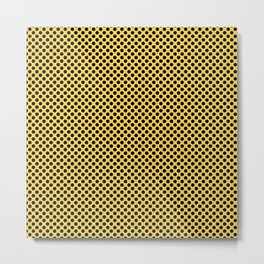 Primrose Yellow and Black Polka Dots Metal Print