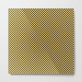 Primrose Yellow and Black Polka Dots Metal Print