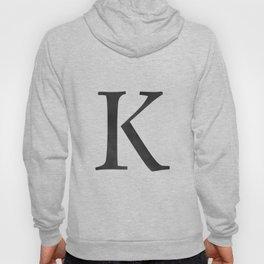 Letter K Initial Monogram Black and White Hoody