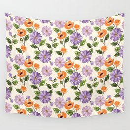 Rustic orange lavender ivory floral illustration Wall Tapestry