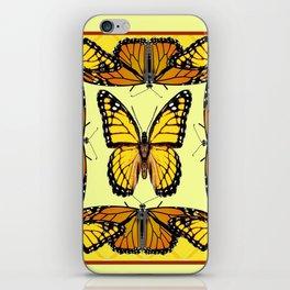 YELLOW & ORANGE MONARCH BUTTERFLIES PATTERNED ART iPhone Skin