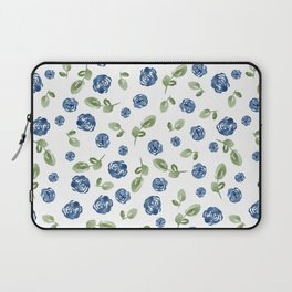 Blue Florals // Hand Painted Watercolors // Deep Blue and Leaf Green Laptop Sleeve