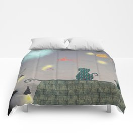 Cat in the Night with Flying Fish and Stars Comforters